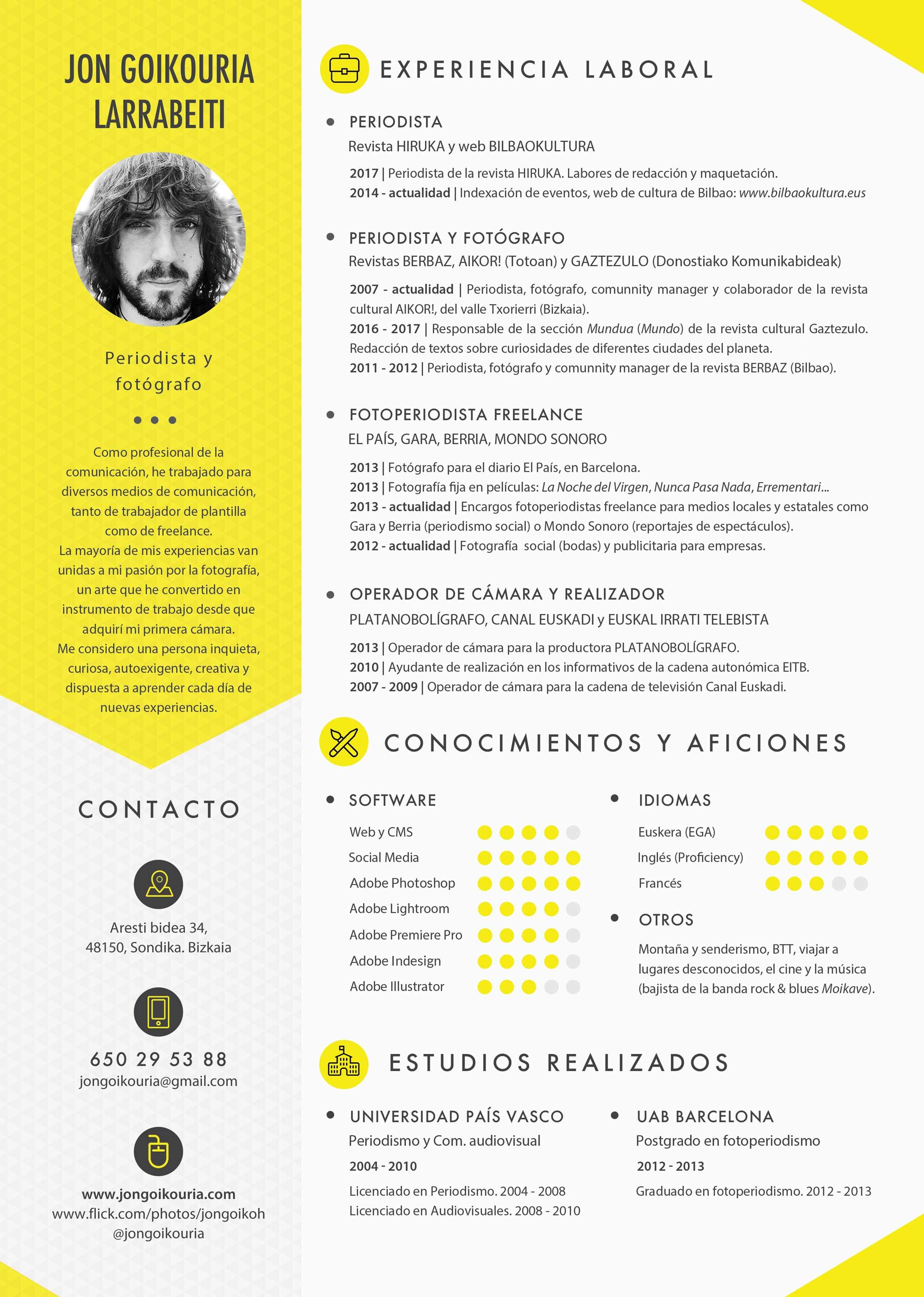 Asombroso Currículum Para Fotógrafo Bandera - Ejemplo De Colección ...